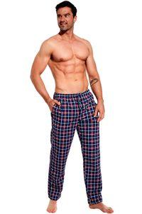 Herren Pyjamahose - Schlafhose - Blau/Rot kariert - Lang aus 100% Baumwolle - Größe M
