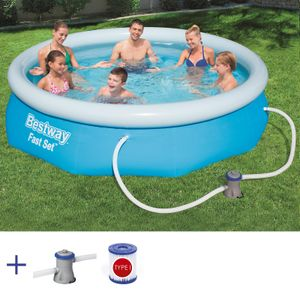 BESTWAY Fast Set Pool Swimmingpool Rund mit Filterpumpe Filter 305x76cm