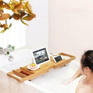 WISFOR Bambus Badewannenablage, Ausziehbare Badewannenbrett, mit Seifenhalter Tablethalter Getränkehalter, Buchstütze