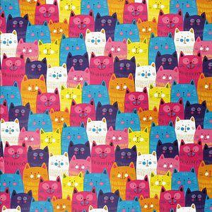 Geschenkpapier Teenager 70cm x 2m Rolle, Motive:Katzen Mix