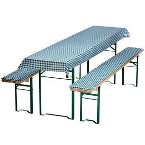 Auflagen-Set für Bierzeltgarnitur Grün-Kariert 3-teilig Tischdecke 240 x 90 cm für 70 cm breite Biertische und 2 gepolsterte Bankauflagen 220 x 25 cm