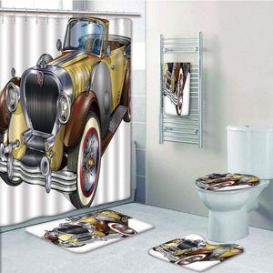 ECZJNT Antike veraltete klassische Auto Auto Fahrzeug Motor Nostalgie 5 Stück Bad Vorhang Handtuch Teppich Konturmatte Toilettendeckel Abdeckung