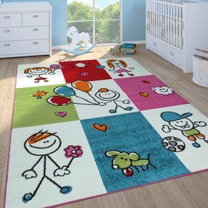 Kinderteppich Mädchen Jungen Kinderzimmer Spielteppich Kurzflor Figuren in Creme, Grösse:160x220 cm