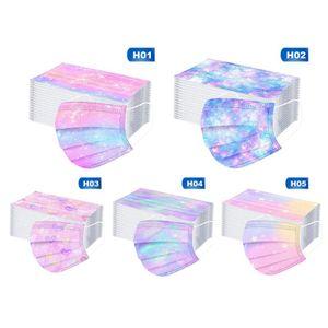 50 Stück 3-lagige Einwegmaske, Atemschutzmasken bunter Modedruck, Infektionsschutz,Schutzmaske Maske für Erwachsene(5 Farben)