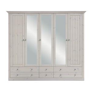 Steens - Monaco Kleiderschrank mit 2+3 Türen und 4+2 Schubladen - Material: Kiefer - Verarbeitung: Weiss lasiert- H x B x T - 201 x 228 x 60 cm