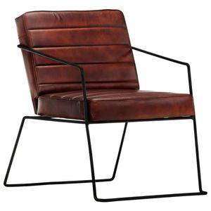 【Neu】Sessel Sessel Dunkelbraun Echtleder Gesamtgröße:52 x 70 x 71 cm BEST SELLER-Möbel-Stühle-Sessel im Landhaus-Stil