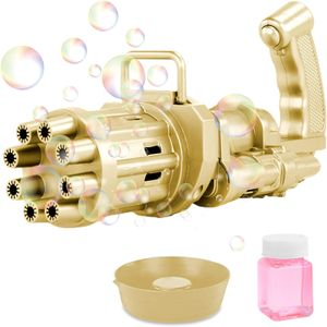 Golden,Gatling Model Porous Seifenblasenmaschine,Bubble Guns Automatische Bubble Machine,8-Loch-Bubble Maker mit Großer Menge
