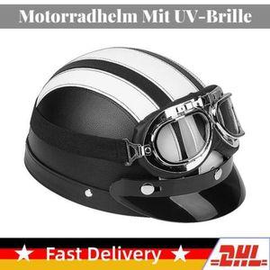 Motorradhelm Rollerhelm Halbschalenhelm eder Retro Helm Universal Mit UV-Brille