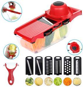 6 in 1 Gemüseschneider, Gurkenhobel, Mandoline, Reibe mit Container und Schäler für Salat Gemüse, Kartoffeln, Karotten, Zwiebeln, Gurken, BPA freie