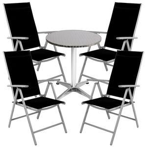 Bistro Sitzgarnitur Bistrogarnitur 5-teilig Silbergrau / Schwarz