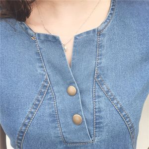 Frauen Plus Size Korean Casual Denim Fertig Abendessen y Abendkleid Midi Kleider Größe:XL,Farbe:Light blue