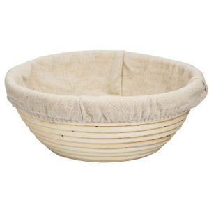 Darmowade Gärkörbchen, Gärkörbe für Brotteig und Brot mit Leineneinsatz, Der ideale Gärkorb aus natürlichem Peddigrohr, Rund 22 cm–Brotform Peddigrohrkorb