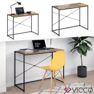 VICCO Loft Schreibtisch Fyrk Bürotisch Arbeitstisch PC Tisch Holz Natur 100 x 45 cm