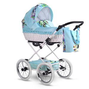 Retro Kinderwagen (ohne Buggy)  Weidenkorb Florale Muster Garden by Liux4Kids Dash G04  mit Babyschale