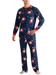Damen Familie Pyjama-Set zweiteiliger Thermo Schlafanzug muster Nachtwäsche Set,Farbe: Papa,Größe:XXL