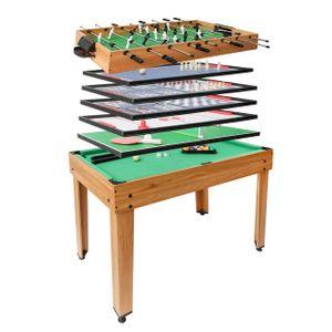 Tischkicker HWC-J15, Tischfußball Billard Hockey 7in1 Multiplayer Spieletisch, MDF 82x107x60cm  Eiche-Optik