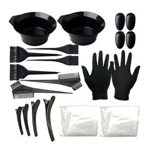 Professionell Friseur Färbeset, Färbeschale Färbekamm Färbepinsel mit Friseurumhang Ohrabdeckung Handschuhe usw.