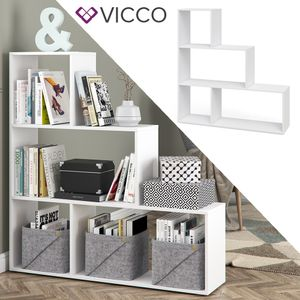 VICCO Treppenregal ASYM Weiß 4 Fächer Raumteiler Regal Bücherregal Standregal