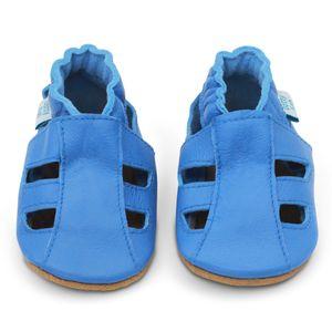 Dotty Fish Baby Leder Lauflernschuhe. Kinderschuhe. Sandalen. Hellblau. 2-3 Jahre (25 EU)