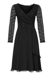 Ashley Brooke Damen Designer-Spitzen-Chiffonkleid, schwarz, Größe:34