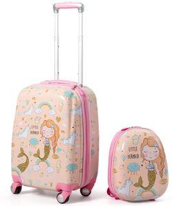 GOPLUS Kinderkoffer 2 TLG. mit Rucksack, Kinder Trolley mit Teleskopgriff, Kindergepäck mit Rollen, 18 Zoll + 12 Zoll, rosa