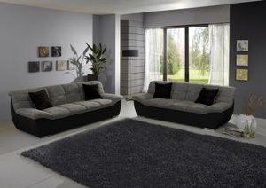 TIVOLI SET Sofa-Garnitur Weißgrau/Schwarz