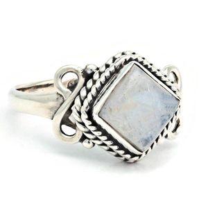 Mondstein Ring 925 Silber Sterlingsilber Damenring weiß (MRI 189-04),  Ringgröße:62 mm / Ø 19.7 mm