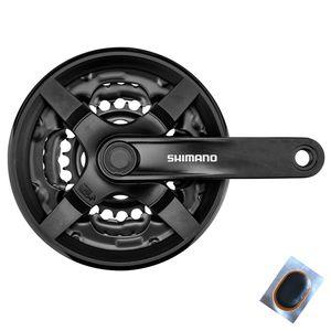 Angebot-Set / Shimano FC-TY301 Kurbelgarnitur Vierkant 6/7/8-fach 42/34/24 Zähne Kurbelarm 170 mm Schwarz inkl. 1 Schlauchflicken