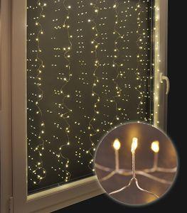 240 warm-weiße LEDs Lichtervorhang Lichternetz Lichterkette Weihnachten Deko