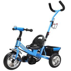 Kinder Dreirad abnehmbare Lenkstange Schalensitz Sicherheitsgurt Kinderdreirad Fahrrad Kleinkinder, Farbe:Blau_2020