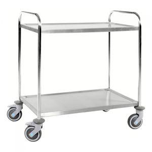 Kongamek Edelstahl- Tischwagen rostfrei mit 2 Böden 825x500mm mit Gummibereifung und Bremse