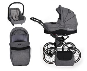 Retro Kinderwagen Kombikinderwagen Set + Zubehör Farbauswahl Romantic Black by ChillyKids B-Black Grey 09 3in1 mit Babyschale