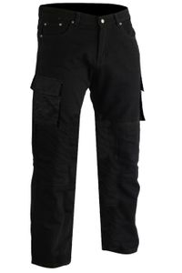 Motorradjeans Motorradhose Cargohose Futter aus Aramidfasern Jeanshose inkl. Protektoren, Jeansgröße:W38 / L32, Farbe:Schwarz