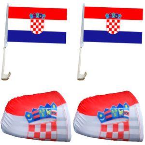 """Fan-Paket-3 """"Kroatien"""" Croatia WM EM Länder Fußball Flaggen Fahren Autoset Spiegelflaggen"""