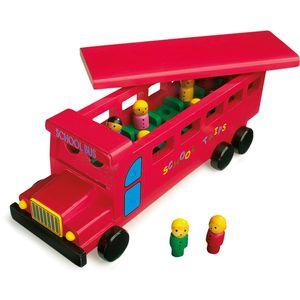 Small Foot 7535 Schulbus aus Holz, mit Motiv, rot (1 Set)