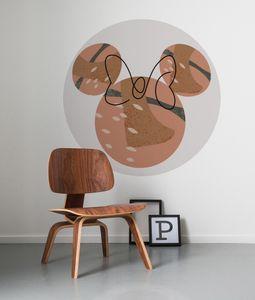 """Komar Vlies Fototapete rund und selbstklebend """"Minnie Terra"""" - Größe: 128 x 128 cm (Breite x Höhe) - 1 Stück"""