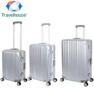 3er Reisekoffer Set - Hartschalen Polycarbonat Alu Koffer Trolley Reise Urlaub  Travelhouse London - Kofferset S+M+L, silber