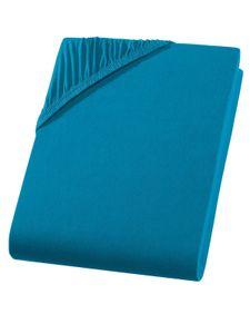 Jersey Split Topper Spannbettlaken für geteilte Topper  Petrol Blau 180x200 - 200x200 cm