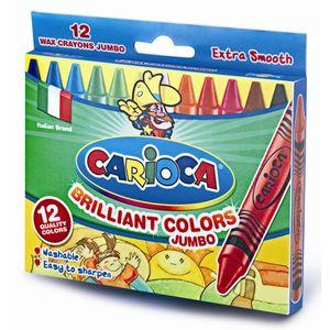 Carioca Wachsmalstifte dick Ø 10mm - 12er Etui - Wachsmaler Set für Kinder