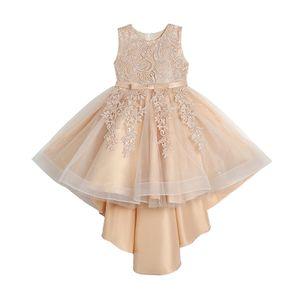 Mädchen Blumenspitze Ärmelloses Kleid Bestickte Spitze Festzug Ballkleider Blumenmädchen Spitzenkleid für Kinder Festzug Party Kleider, Champagner, 160cm