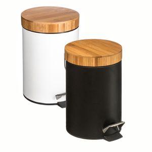 Mülleimer mit einem Bambusdeckel , 3 l, Farbe:weiß