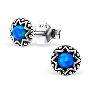 Ohrstecker Silber rund Opal synthetisch blau