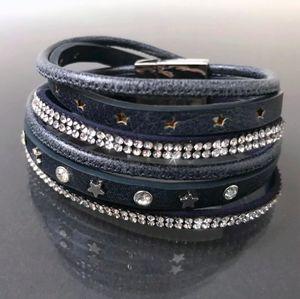 Armband Wickelarmband Sterne Lederlook blau Edelstahl Strass A77782