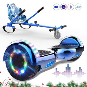 Markboard 6,5 Zoll Hoverboard Blau+ Hoverkart blau, mit Bluetooth und 700W motor  LED-Leuchten Self Balance Elektroscooter + Gokart, Elektroroller mit Hoversitz Hoverboards mit Sitz