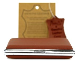 Zigarettenetui Zigarettenbox Echt Leder Premium Camel Braun 20 Zigaretten Zigarettenschachtel Case