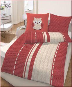 IDO Biber Bettwäsche 2 teilig Bettbezug 155 x 220 cm Kopfkissenbezug 80 x 80 cm Eule Strick rot