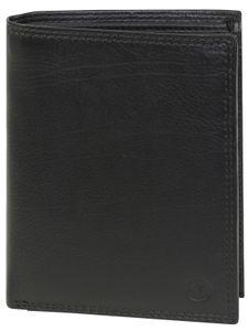 Hochformat Geldbörse in weichem Nappa Leder doppel Naht  mit RFID Schutz, Farben:schwarz