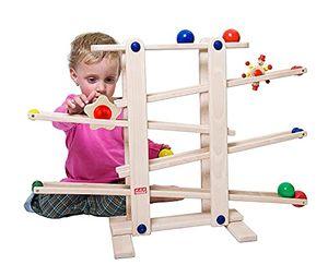Trihorse Kugelbahn MAXI aus Holz - Ideal für Kind und Baby ab 1 Jahr - Murmelbahn mit 6 Figuren - sehr stabiles Premium Holzspielzeug -  EU