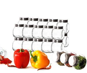 24x Gewürzgläser 200 ml Gewürzbehälter Metalldeckel Luftdicht Gewürz Süssigkeiten Glas Bonbongläser