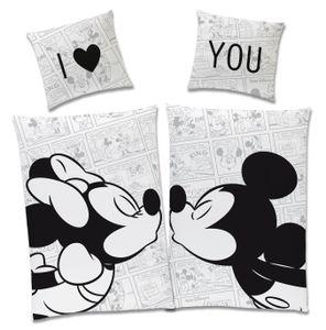 Disney Mickey & Minnie Mouse Partner Bettwäsche 4-teilig 80x80 + 135x200cm 100% Baumwolle mit Reißverschluss